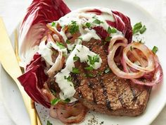 Marinated Flank Steak with Blue Cheese Sauce