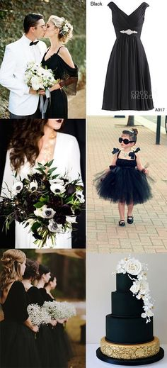 Black can be a bold but dramatic choice for a wedding color palette Black Weeding Dress, Black Flower Girl Dresses, Wedding Dresses With Black, Black Bridemaids Dresses, Black Weddings, Black And White Wedding Theme, Knee Length Bridesmaid Dresses, Black Bridesmaids, Flower Girls
