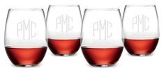 Monogrammed Stemless Wine Glass Set
