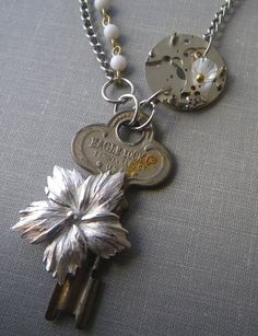 Steampunk Vintage Chain Watch and Flowering Key by FragmentedTime, $45.00