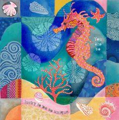 Seahorse collage Art Print by Janet Broxon. https://society6.com/janetbroxon