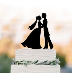couple Wedding Cake topper  topper figurine,   Bride and groom silhouette , funny cake decor, bride with veil