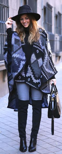 Grey And Black Ethnic Cape by TrendyTaste