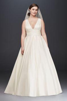 Extra Length Cummerbund Satin Plus Size Wedding Dress - Ivory, 24W