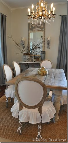 Shabby French Dining Room: Love these chair slips!