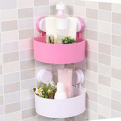 Plastic Bathroom Storage Holder with Suckers