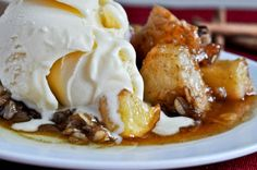Crock pot caramel apple crumble. Perfect for a Fall night.