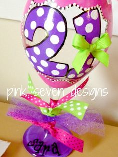 21st Birthday Wine Glass DOTS by pinksevendesigns on Etsy, $18.00