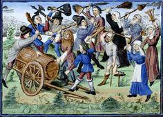 BOTTE PER LA BOTTE  Miniatura tratta dal 'Libro della caccia del re Modus' (1455), Bibliothèque royale de Belgique, Bruxelles.  Pinning for the barrel cart.