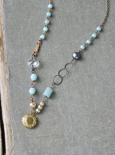 Genevieve. romantic bohemian pearl and crystal gemstone beaded locket necklace.Tiedupmemories