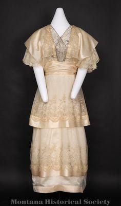 1997.53.08, wedding dress, 1915, worn by Eveline Baker Nelson.