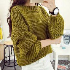 Объемный свитер платочной вязкой своими руками. Модный свитер платочной вязкой