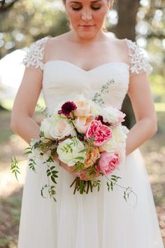 beautiful ruby + pink #bouquet | Magnolia Pair #wedding