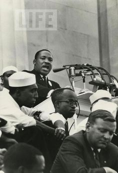 Dr. King stands behind a podium on the steps of the Lincoln Memorial, Washington D.C. on August 28, 1963.
