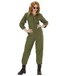 Kampfjet Pilotin Kostüm Jet Pilotin Damen Kostüm TOP GUN 34 36 38 40 42 44 46 | eBay