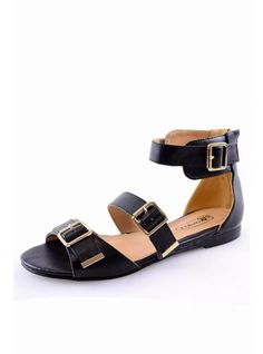 Black Buckle Strap Sandals | Glamorous UK