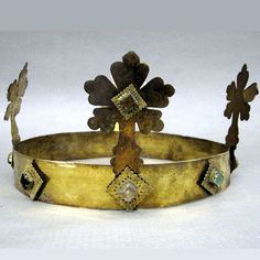GERMANY - HEINRICH VII VON LUXEMBOURG CROWN (ca. 1310) : Crown of Henry VII of Luxembourg (1275 - August 23, 1313), King of Germany and Holy Roman Emperor, found in his tomb (in Pisa Cathedral - Italy). Grave was opened October 2013 and artifacts cataloged.