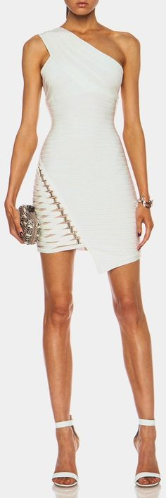 @roressclothes clothing ideas #women fashion white Herve Leger Dress