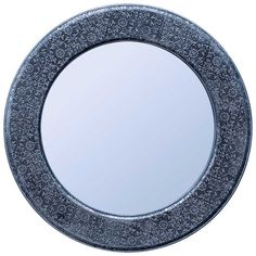 Decor - Round Antique Silver Embossed Mirror - Hutsly. With its blackened silver embossed frame, this round mirror would fit perfectly in bot Indian and Moroccan-inspired interiors.