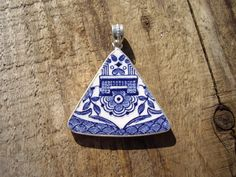 Blue and White Antique China Repurposed Plate Sterling Silver Pendant