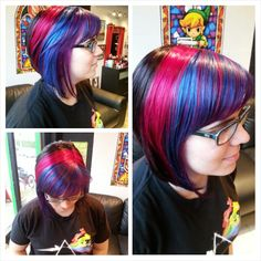 Purple, Blue and Magenta Pravana rainbow! You know it's a nerdy salon when even your clients show up wearing cool graphic tee's ;D  Hair by Jen Cleroux  B-Bombshell Salon New Westminster, BC Where Geek is Chic!