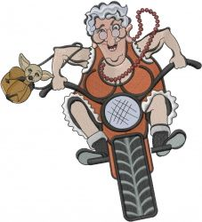 Humorous Embroidery Design: Motorcycle Grandma from Machine Embroidery Designs