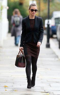 Pippa wearing Zara dress, Whistles blazer on 11/9/2011