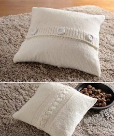 Cushion cover, 1994 – free tutorial - Everything About Knitting Knitted Pouf, Knitted Cushions, Knitted Blankets, Sweater Pillow, Crochet Pillow, Knit Crochet, Diy Pillow Covers, Diy Pillows, Crochet Patterns Amigurumi