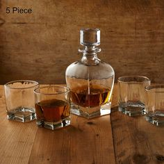 Whiskey Set 5 Piece Decanter Glasses Home Bar Decor Scotch Bourbon Malt Rye Gift #Artland