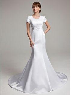 Wedding Dresses - $168.99 - Trumpet/Mermaid V-neck Chapel Train Satin Wedding Dress With Ruffle Lace  http://www.dressfirst.com/Trumpet-Mermaid-V-Neck-Chapel-Train-Satin-Wedding-Dress-With-Ruffle-Lace-002001670-g1670