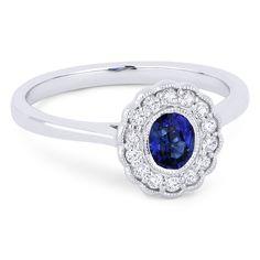 0.58ct Oval Cut Sapphire & Round Brilliant Cut Diamond Flower Statement Ring in 14k White Gold - AM-DR13429 - AlfredAndVincent.com