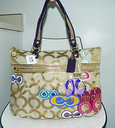 new coach poppy purses  | NEW-COACH-POPPY-POP-C-APPLIQUE-15307-GOLD-OP-ART-SIGNATURE-GLAM-BAG ...