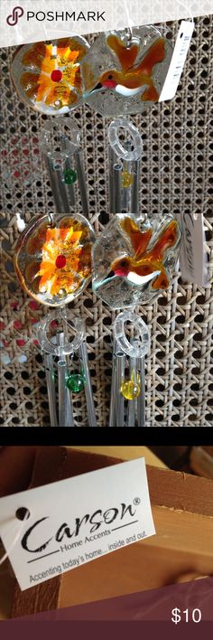 """Glass blown Windchimes burnt yellow bird/flower 💛 Fabulous windchimes glass! Great for your own decor or as a gift you will receive both that you see 2 matching colors of Gold/yellow. Measure approximately 6"""" tall (not including string and glass ball ending).  Thank you Other"""