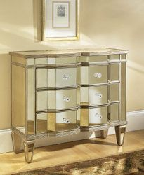Achieve a glamorous feel with this three-drawer mirrored chest. The frame of the chest is made from hardwood and MDF with a mirror finish. The chest features a mirrored glass top, angled mirror tiles on the drawers, and mirrored arrow feet. Decor, Accent Chests And Cabinets, Mirrored Chest, Mirrored Accent Chest, Glam Bedroom, Sofa End Tables, Home Decor, Shabby Chic Furniture, Pulaski Furniture