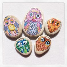 Photo from ruta13art... Five wide-eyed Owls!