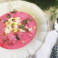 Chlodnik, also known as cold borscht, is a traditional soup of Polish cuisine. The soup is served cold, as its name indicates. Chlodnik is rich in vitamins, has a nice tart aftertaste and is very refreshing. Polish Soup, Beer Soup, Borscht Soup, Creamed Cucumbers, Farmers Cheese, Russian Recipes, Russian Foods, Seasonal Food, Polish Recipes