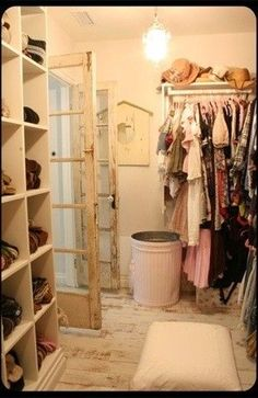 French Country- Shabby Chic Dressing Room. Awesome... Maybe i can turn my closet into this!