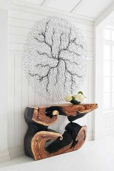 This great collection of unique wall art is contemporary and organic. You can arrange these designs in an abstract or grid format to add a three-dimensional piece of art to any wall. Live Edge Furniture, Log Furniture, Furniture For You, Furniture Projects, Wood Projects, Furniture Design, Wood Slab, Easy Woodworking Projects, Into The Woods