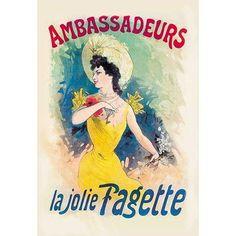 """Buyenlarge 'Ambassadeurs: La Jolie Fagette' by Jules Cheret Vintage Advertisement Size: 66"""" H x 44"""" W x 1.5"""" D"""