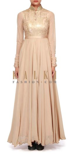 Buy Online from the link below. We ship worldwide (Free Shipping over US$100). http://www.kalkifashion.com/beige-anarkali-adorn-in-sequin-embroidery-only-on-kalki.html