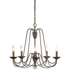 Formal dining light - allen + roth Wintonburg 24.25-in 5-Light Aged Bronze Williamsburg Candle Chandelier