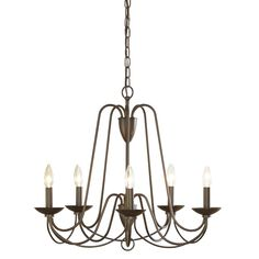 Formal dining light - allen + roth Wintonburg 24.25-in 5-Light Aged Bronze Williamsburg Candle Chandelier