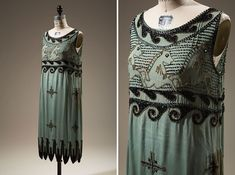 """Rayon crepe, bugle and seed beads, circa 1926, USA, 76.125.1, gift of Mrs. Mirsky Couturier Madeleine Vionnet fought copying of her designs on several fronts. For her """"Little Horses"""" dress, she collaborated with embroiderer Albert Lesage to create a difficult-to-copy beading technique. Nevertheless, her beaded horses were reproduced in this unauthorized version, though the lower portion of the dress was eliminated."""