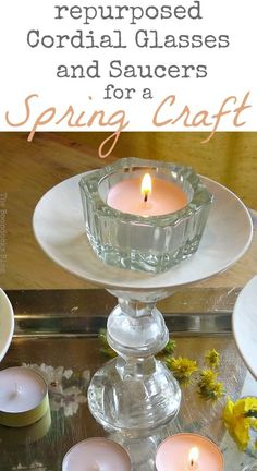 Repurposed Cordial Glasses and Saucers for a Spring Craft Pedestal - Intl Bloggers Club - The Boondocks Blog