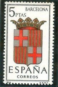 1962 España-escudo de la Provincia de Barcelona Vintage Stamps, Country Of Origin, Barcelona, Spain, Poster, Illustration, Postage Stamps, Maps, Rock Posters