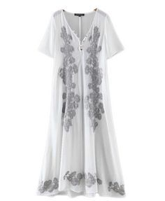 2e994bab21 See-Through Embroidery Plunging Neck Short Sleeve Dress
