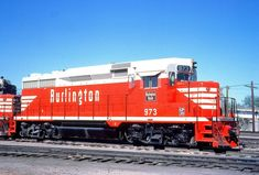 A set of new Chicago, Burlington & Quincy GP30's, resplendent in their 'Chinese Red' livery, are seen here in Denver, Colorado in May, 1963. Warren Calloway collection. Denver Colorado, Colorado Springs, California Zephyr, Burlington Northern, Rock Island, North Dakota, Rio Grande, Tucson, Locomotive