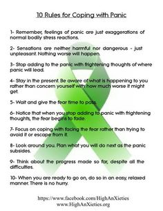 10 rules for coping with panic  #PTSD #CPTSD #depression #anxiety #mentalhealth #recovery