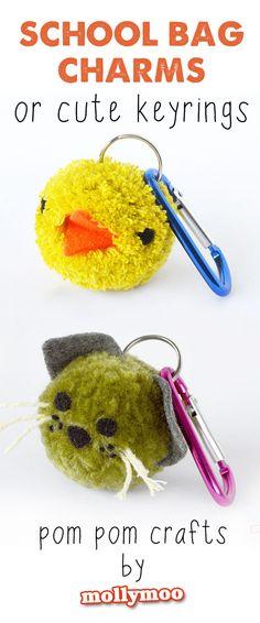 Pom Pom Crafts for Kids - school bag charms or cute keyrings | MollyMoo #kids #craft #kbn #kidscraft #pompoms #craftsforkids