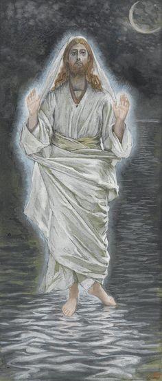 Jesus Walks on the Sea by James Tissot {c.1886-94}